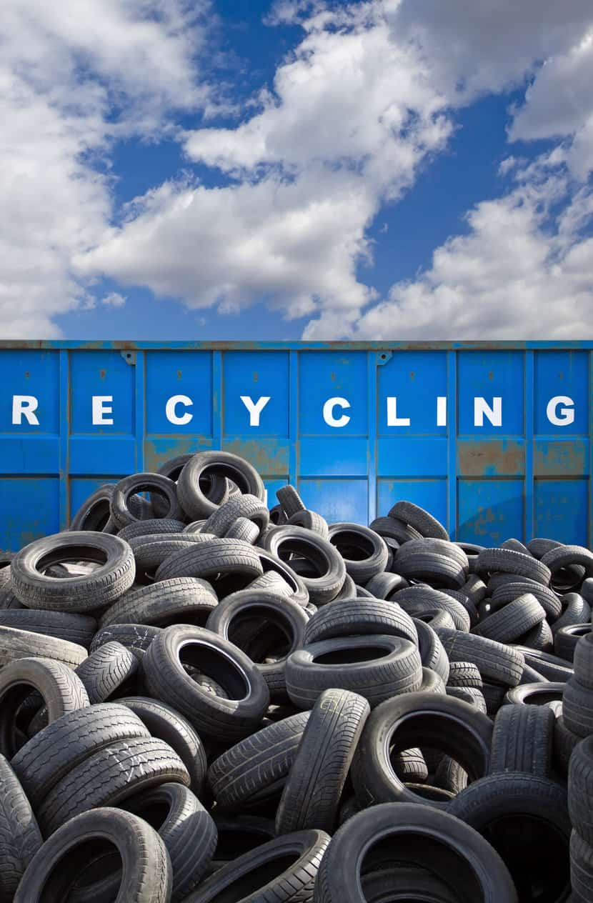 Recycling business container and tires